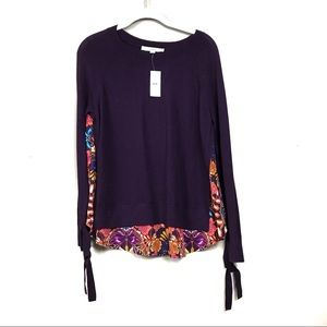 New with tags loft purple floral silk panel top